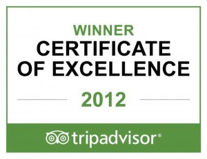 2012 Trip Advisor Certificate of Excellence